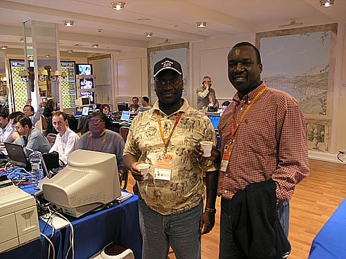 Alex Makatia and Issac Babu Odiah (both of Kenya) at 2004 Chess Olympiad (Mallorca, Spain).