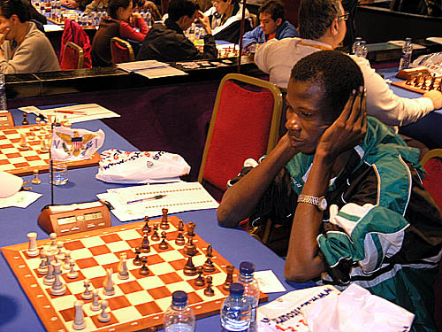Bunmi Olape playing board #1 at the Mallorca Olympiad, 2004.