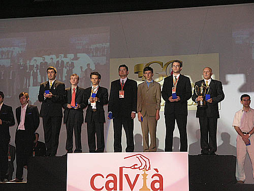 Gold medallists Ukraine listening to national anthem. (L-R) Vassily Ivanchuk, Ruslan Ponomariov, Andrei Volokitin, Alexander Moissenko, Sergey Karjakin, Pavel Eljanov, Vladimir Tukmakov (captain).