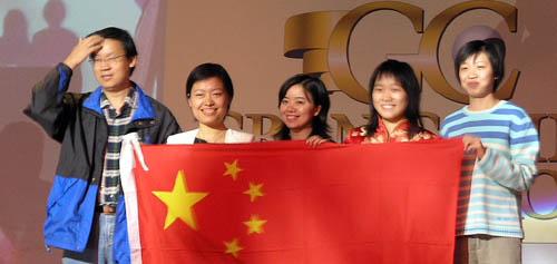 China - Women Olympiad Champions: (L-R) Ye Jiangchuan (captain), Xie Jun, Xu Yuhua, Zhao Xue, Huang Qian