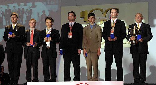Ukraine - Men Olympiad Champions: (L-R) Vassily Ivanchuk, Ruslan Ponomariov, Andrei Volokitin, Alexander Moissenko, Sergey Karjakin, Pavel Eljanov, Vladimir Tukmakov (captain)