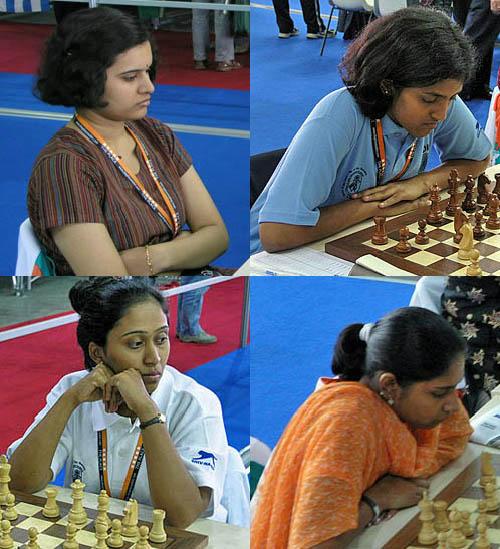 India (clockwise): GM Humpy Koneru, WGM Dronavali Harika, WIM Mary Gomes, WGM Swati Ghati. Copyright © 2006, Daaim Shabazz.