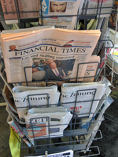 News stand. I bought the Financial Times. Interesting headline!. Copyright © 2006, Daaim Shabazz.