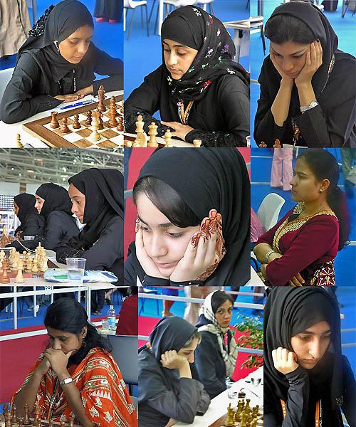 Muslim Countries: Top Row: Dhuha M. Muhsin  (Iraq), Noora Al-Jefairi (Qatar), Atousa Pourkashiyan (Iran); Middle Row: Salama Al-Khelaifi, Noora Al-Jefairi, Aisha Al-Khelaifi (Qatar), Essa Kholoud (UAE), Maisa Ovezova (Turkmenistan); Bottom Row: Nazrana Khan (Bangladesh), Shayesteh Ghaderpour Taleghani & Shirin Navibi (Iran), Nora Mohd Saleh (UAE) who won a gold medal! Copyright © 2006, Daaim Shabazz.