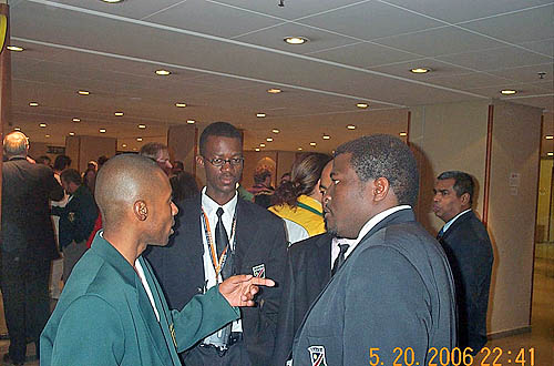 Namibia discussing chess events of the day.