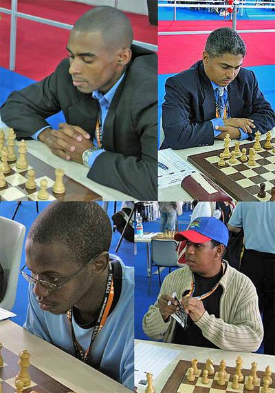 Pan-African roundtable. Clockwise: IM Kenny Solomon (South Africa), Shane Matthews (Jamaica), Afriany Velery (Haiti), FM Phemelo Khetho (Botswana). Copyright © 2006, Daaim Shabazz.