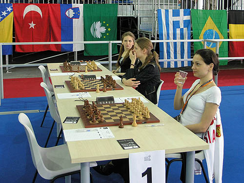 Russian women relaxes before the round. Copyright © 2006, Daaim Shabazz.