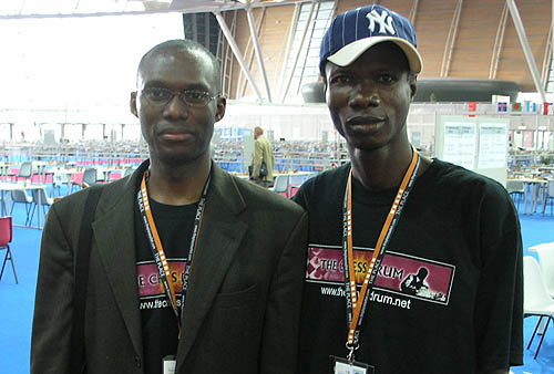 The Chess Drum's Daaim Shabazz with Nigeria's Bunmi Olape. Copyright © 2006, Daaim Shabazz.