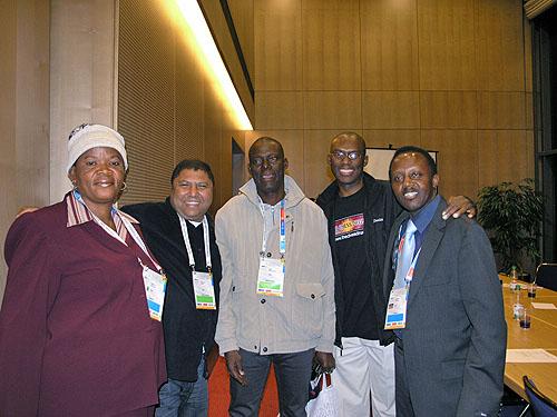 L-R: Akinola Abidemi (Nigeria), Dr. Omar Esau (South Africa), Sani Mohammad (Nigeria), Dr. Daaim Shabazz (USA), Andolo Ambasi (Kenya). Photo by Daaim Shabazz.