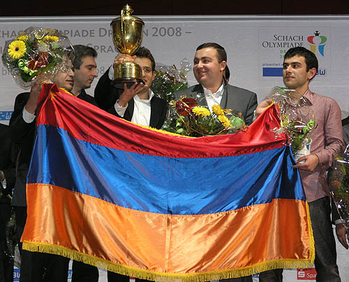 Armenia men rejoicing over 2nd consecutive Olympiad gold.