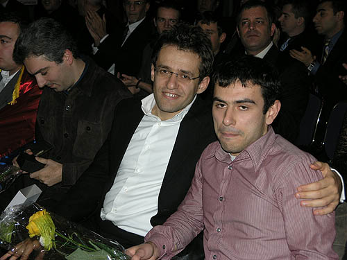 GMs Levon Aronian and Gabriel Sargissian. Photo by Daaim Shabazz.