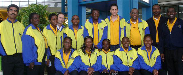 Back Row - Mr. Dirk Austin (Women Team Coach), Mrs. Beverley Howell-Mayers (Manager), Mr. Shamel Howell (UWI), International Master Jose Vilela De Acuna (Men Team Coach), FIDE Master Delisle Warner, Mr. Kelvin Daniel, Mr. Martyn Del Castilho (UWI, FIDE Master Dr. Philip, International Arbiter Rohan Waithe, Mr. Peter Dawson (BCF President) Front Row - Miss. Katrina Blackman (Coleridge & Parry), Mrs. Juanita Garnett, Miss. Corrine Howard (Barbados Community College), Miss. Rashida Corbin (National Woman Champion), Miss. Cheri-Ann Parris (UWI)