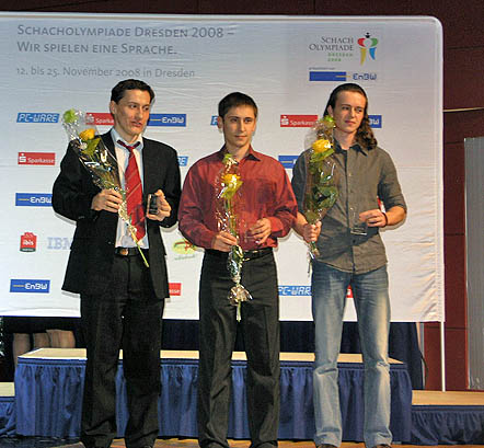Board 5 medal winner. Ferenc Berkes (bronze), Dmitry Jakovenko (gold), Maxim Rodshtein (silver). Photo by Daaim Shabazz.