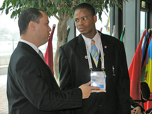 Boitumelo Keinyatse of Botswana speaking with one of the arbiters. Photo by Daaim Shabazz.