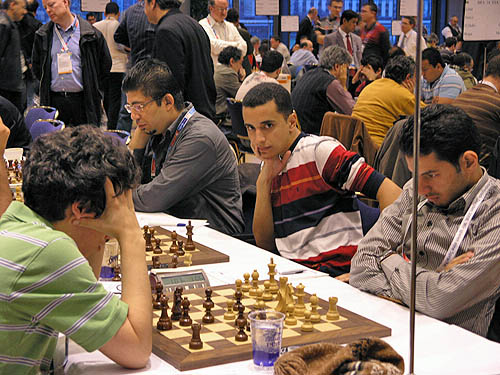 IM Frhat Ali, GM Bassem Amin and GM Ahmed Adly face Costa Rica. Adly awaits GM Alejandro Ramirez. Photo by Daaim Shabazz.