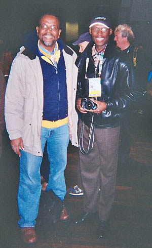 Dr. Philip Corbin with Dr. Daaim Shabazz after the 2008 Olympiad Closing Ceremonies in Dresden, Germany. Photo courtesy of Philip Corbin.