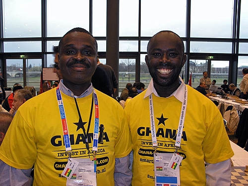 Edward Lamptey-Thompson and John Hasford at the 2008 Chess Olympiad.