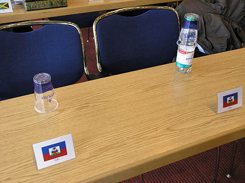 Haitian seat at FIDE Assembly. Send prayers for Haiti. Photo by Daaim Shabazz.