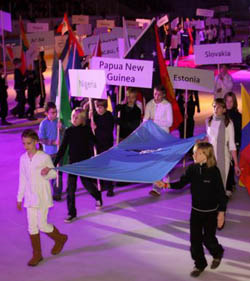 FIDE flag at Olympiad Opening Ceremony. Photo by Paul Truong.