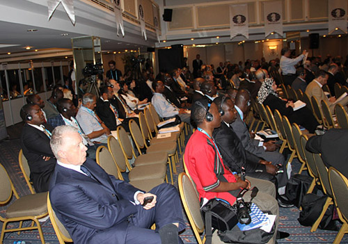 The FIDE General Assembly seating is arranged by alphabetical order. At the 2012 assembly in Istanbul, notice African federations clumped together in the back of the hall. Why was this not corrected? Photo by Daaim Shabazz.