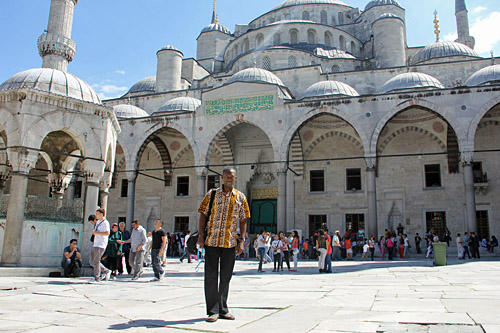Me at the Blue Mosque in Istanbul, Turkey.