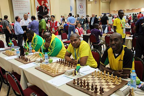 Jamaica (R-L): FM Warren Elliott, IM Jomo Pitterson, CM Duane Rowe, Andrew Mellace