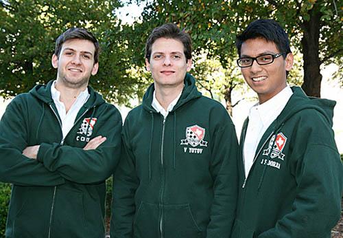 Grandmasters Cristian Chirila, Valentin Yotov and Julio Sadorra of the winning UTD program. Photo by UTD.