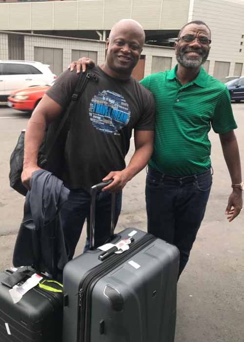 Maurice Ashley being greeted at the airport by FIDEC President, Essoh Essis