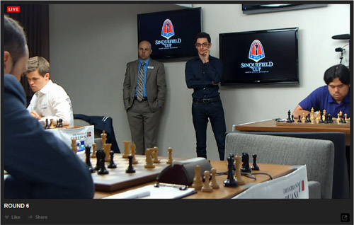 Caruana waiting in the wings after delivering the devastating blow.