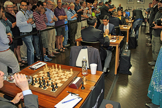 Anish Giri set forth to face Viswanathan Anand in front of the throng of fans. Photo by Daaim Shabazz.