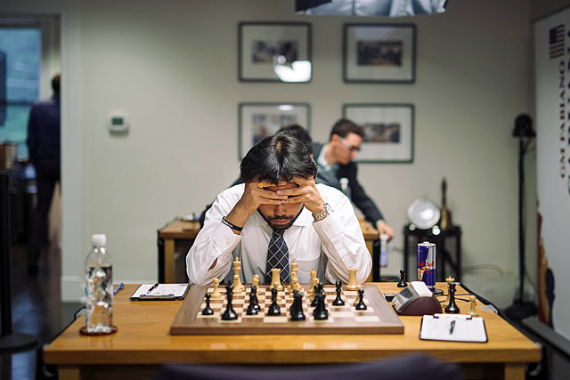 Hikaru Nakamura was all business today. Photo by Lennart Ootes (for CCSCSL).
