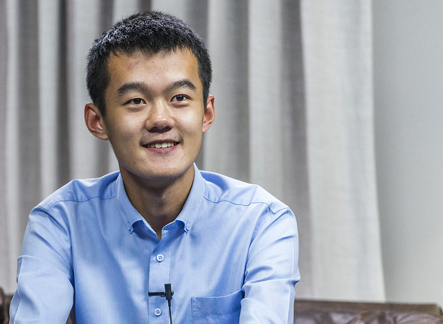 Ding Liren in a good mood after his win over Svidler.