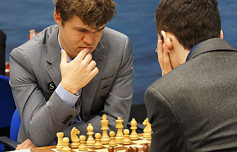 Carlsen-Caruana... perhaps a rivalry brewing. Photo by Jeron van den Belt.