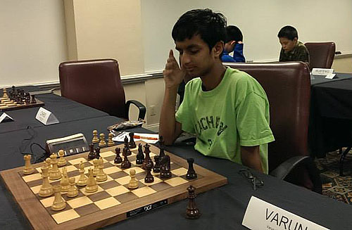 Varun Krishnan is in sole possession of first. There are six players on an even score and only one point separates 1st place from 8th. This will be an exciting tournament.