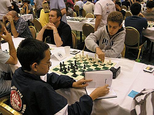 NM IM Daniel Naroditsky (right) vs. Michael Brown (1-0)