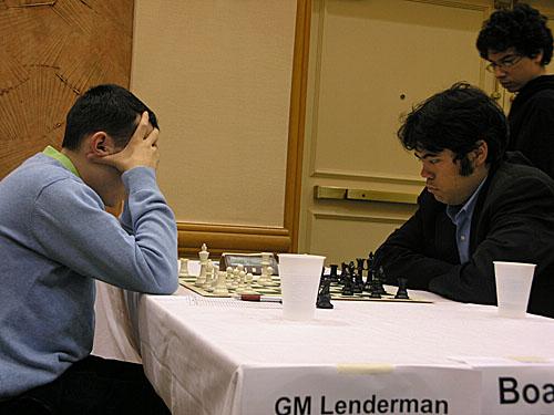 GM Aleksandr Lenderman vs. GM Hikaru Nakamura (1/2-1/2)