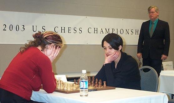 WIM Jennifer Shahade vs. WIM Anna Hahn in tiebreak battle.