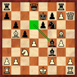 The two players arrived at this position in less that 20 moves! Julio Becerra uncorked 15...Bf4.  After 16.Qh3, the game ended in a spectacular draw moves later.