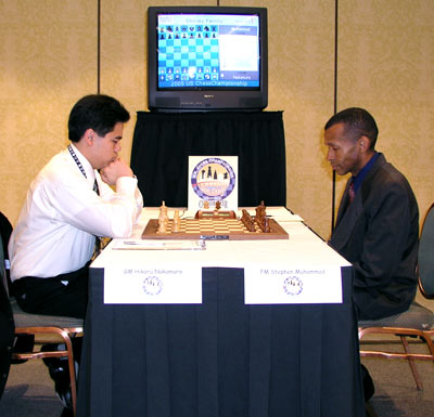 Hikaru Nakamura faces off against Stephen Muhammad in round 1 of the 2005 U.S. Chess Championship. Photo by John Henderson.