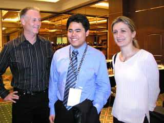 Chief Organizer Erik Anderson (left) stands next to GM Hikaru Nakamura and WGM Rusudan Goletiani after both were crowned the 2004 U.S. Champions.