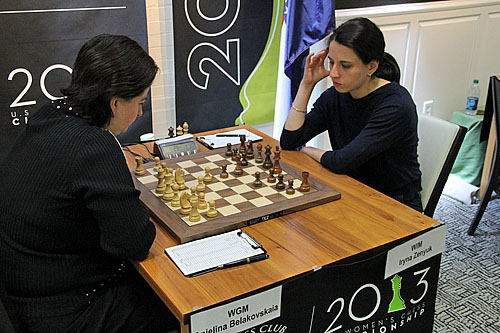 WGM Anjelina Belakovaskaia vs. WIM Iryna Zenyuk, 1/2-1/2.