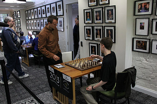 GM Timur Gareev arrives a bit late. GM Conrad Holt prepared for first move.