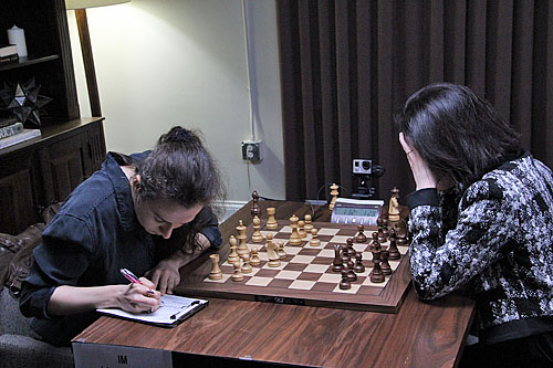 Irina Krush widened her lead after her opponent blundered.