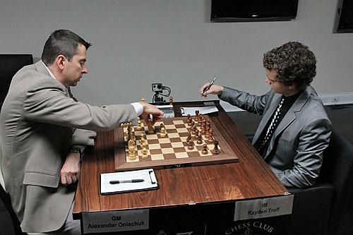 GM Alexander Onischuk vs. IM Kayden Troff, 1/2-1/2.
