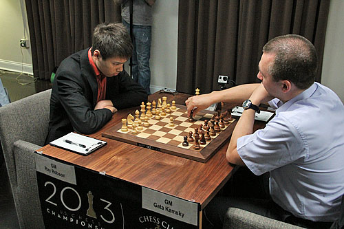 GM Ray Robson vs. GM Gata Kamsky, 1/2-1/2.