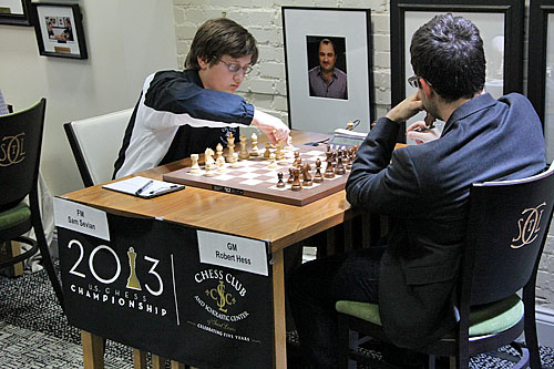 FM Samuel Sevian vs. GM Robert Hess, 1/2-1/2.