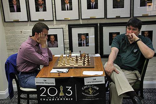 Larry Christiansen 'chilling' in between moves against Alex Stripunsky.