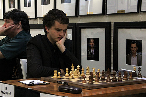 IM Kayden Troff continues his solid showing... drew GM Gregory Kaidanov.