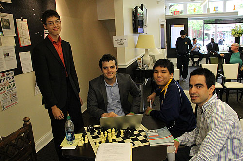 Part of Webster University's National Championship team. They were hanging out at the U.S. Championships. They would be a strong Olympiad team as well!! L-R: GM Ray Robson (USA), GM Fidel Corrales Jimenez (Cuba), GM Wesley So (Philippines), GM Manuel Leon Hoyos (Mexico).
