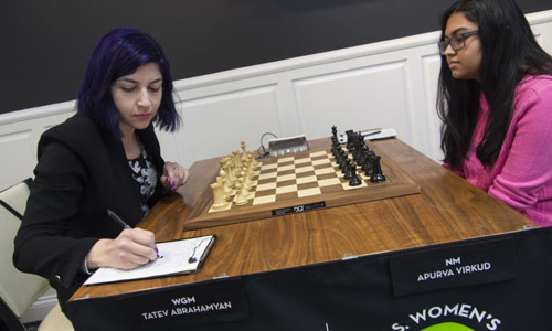 Tatev Abrahamyan was in a must-win situation against 16-year old National Master Apurva Virkud. Photo by Lennart  Ootes.